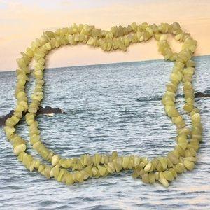 "Jewelry - Olive Jade Necklace Medium Chunk 34"" Long"